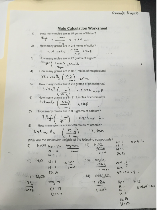 Free Worksheets the mole worksheet answers : Mole Calculation Worksheet - Fernando Saucedou0026#39;s Blog